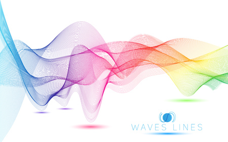 incomparable: rainbow colorful gradient light waves line bright abstract pattern illustration vector
