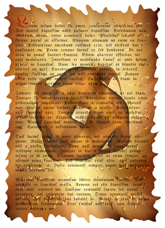 ancient scroll: ancient scroll with text and mystical seal background vector