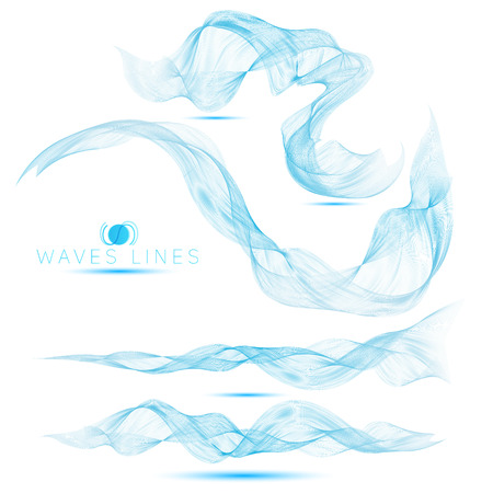water flow: set of beautiful blend massive waves abstract background for design
