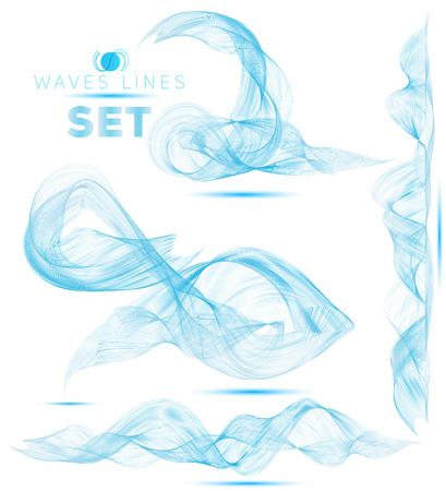 grande conjunto de bela mistura enormes ondas fundo abstrato para o projeto Ilustração