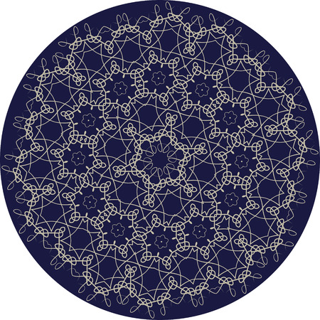 Circle sophisticated symmetric floral pattern in Celts style Illustration