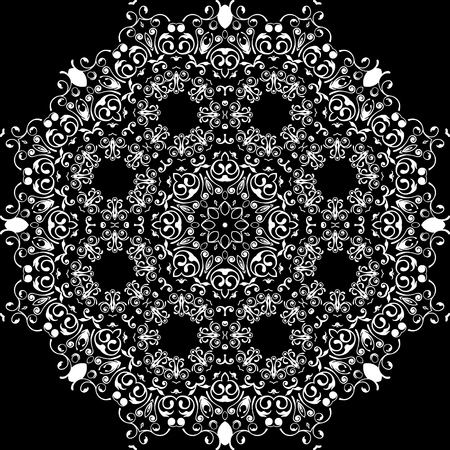 continued: art white floral seamless symmetric pattern on black background vector
