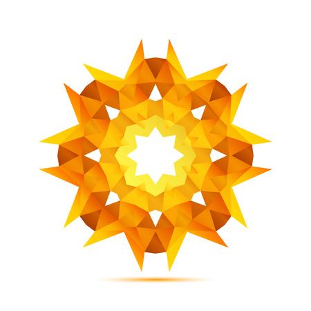 Bright sun in the geometric style icon vector Vector