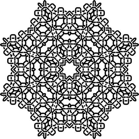 continued: Art Black Technical Seamless Symmetric Pattern