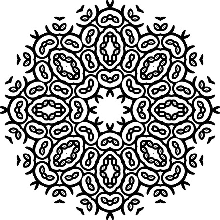 Art Black Floral Seamless Symmetric Pattern  Vector