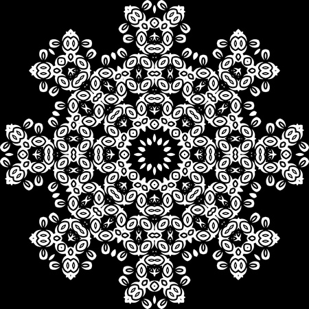 continued: Art White Floral Seamless Symmetric Pattern
