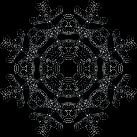 continued: Art Feather White Seamless Symmetric Pattern On Black Background Vector