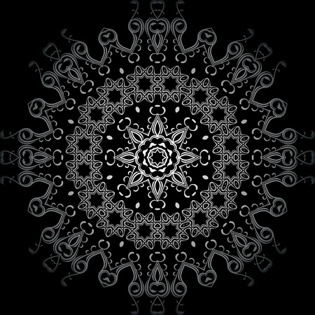 continued: Art White Seamless Symmetric Pattern On Black Background Vector