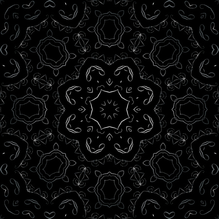 continued: Art Metal Floral Seamless Symmetric Pattern On Black Background Vector