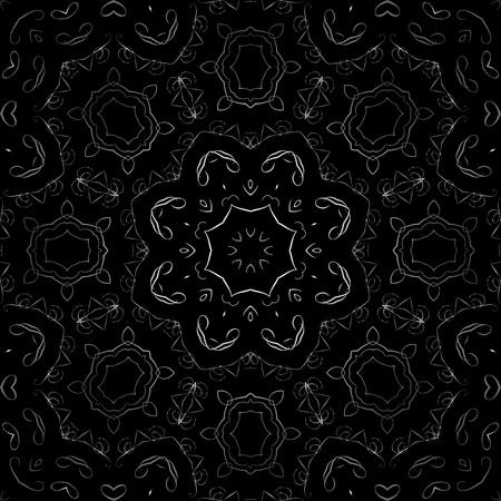 Art Metal Floral Seamless Symmetric Pattern On Black Background Vector Vector