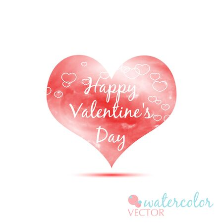 happy valentines day red watercolor heart love on the white background vector