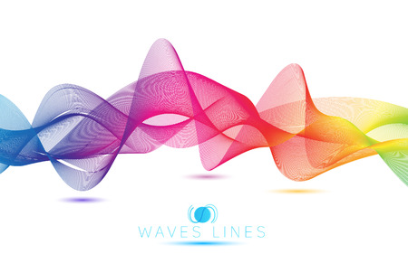 rainbow blend waves colorful gradient light  lines bright abstract vector  イラスト・ベクター素材