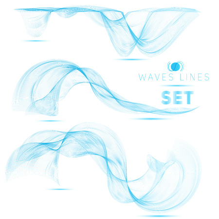 abstract waves: premium set blue massive blend waves abstract background for design vector