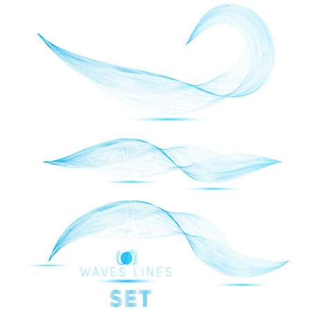 great set blue blend massive waves abstract background for design vector Vector