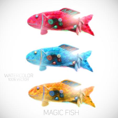 watercolor fish in 3 color options vector illustration Vector