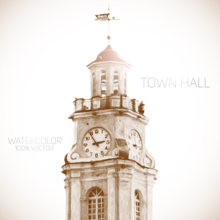 town hall: Town hall building watercolor vector illustration