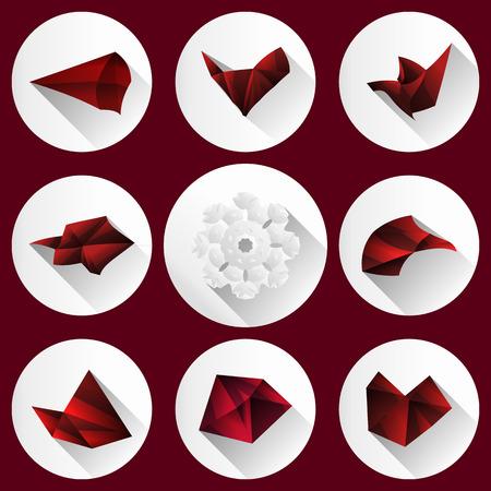Ícones lisos coleção do vetor moderno com efeito de sombra longa em cores elegantes de web design objetos isolado vector