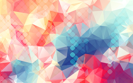 double exposure: low poly double exposure abstract background square pixel mosaic