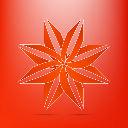 abstract red flower icon  Illustration