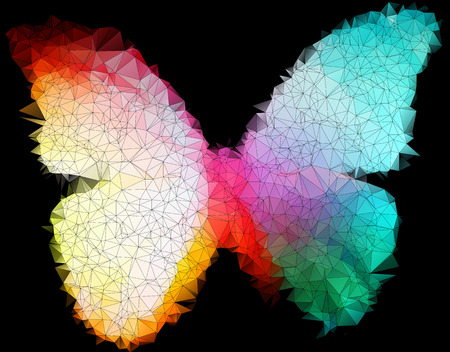 multicolor bright butterfly on black abstract geometric background  stained-glass window  Vector