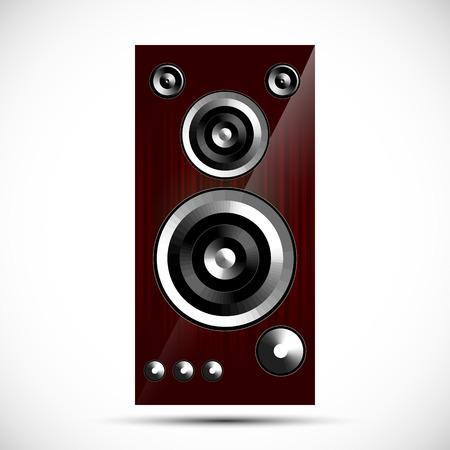 acoustics: loudspeaker Hi-Fi acoustics icon wooden case vector illustration
