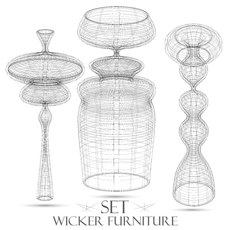 Set of wicker furniture drawings of objects vector