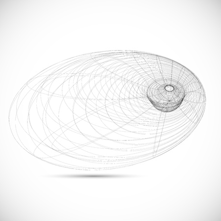 far away: black hole magnetic field sketch icon template vector