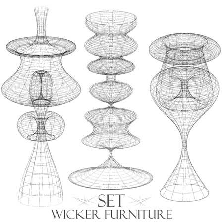Set of wicker furniture chandelier drawings of objects vintage things vector Illustration