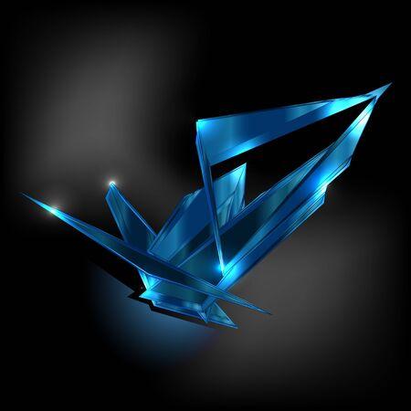 Topaz shard dark blue crystal icon vector template