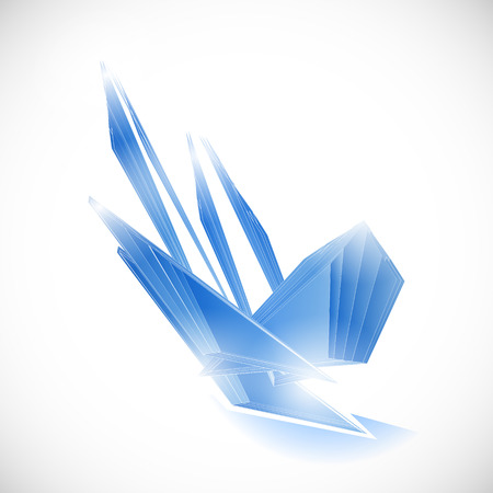 shard of glass: Topaz shard blue crystal icon template vector Illustration