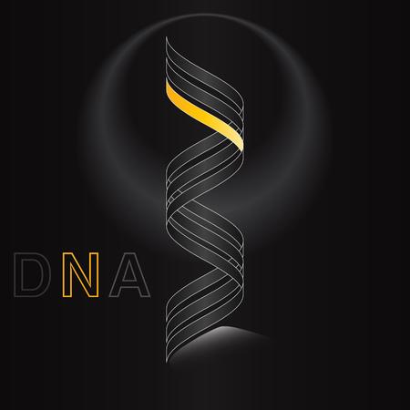 chromosomal: abstract dark DNA elegant logo volume curves strip modern vector Illustration