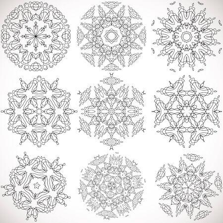 figura: Jogo de alta qualidade padrões simétricos modelos para os padrões de design e texturas e impressão vector