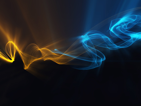 incomparable: orange and blue contrast smoke waves on  black background glowing abstract background Stock Photo