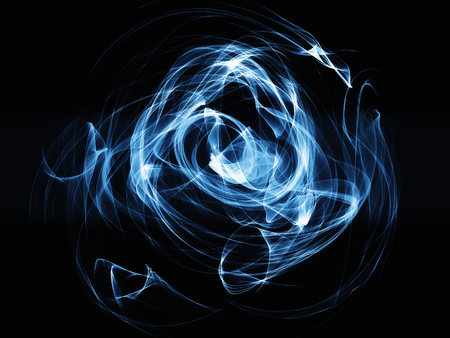 incomparable: blue smoke waves on  black background glowing abstract background
