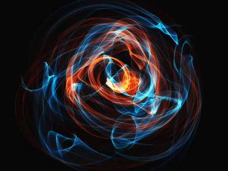 incomparable: blue and orange contrast smoke waves on  black background glowing abstract background