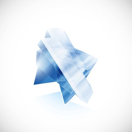 shard of glass: Blue topaz shard crystal icon template for design