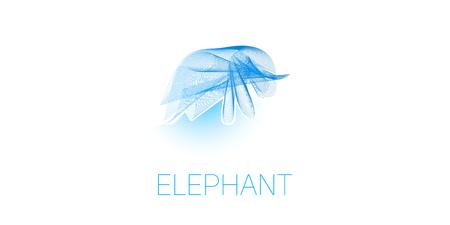elephant waves colorful gradient light blend line icon
