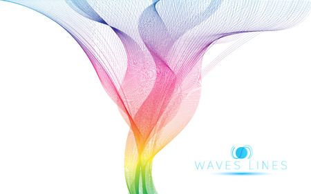 great rainbow waves colorful gradient light blend line vector abstract