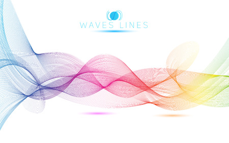 素晴らしい虹波のカラフルなグラデーションの明るいブレンド行ベクトルの概要