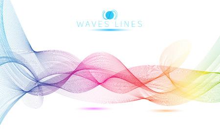 curvas: grandes olas arco iris colorido gradiente mezcla ligera línea vectorial abstracto Vectores
