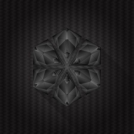 Gótico escuro abstrato do ícone do logotipo com sombra longa em preto Modelo escuro do fundo para o projeto