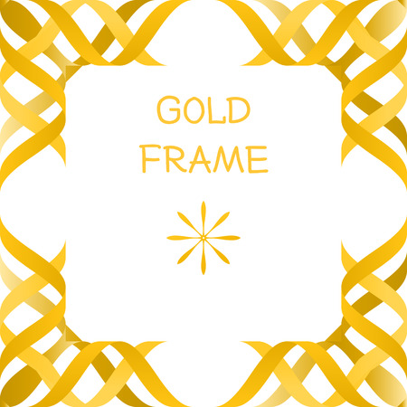 greenness: abstract 3d gold frame isolated mock up volume modern vector Illustration