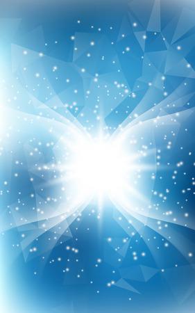 천사 날개와 손질 디자인을위한 빛의 이중 노출을 가진 블루 세로 크리스마스 배경 일러스트