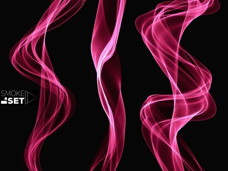 pink sky: set of pink waves flow smooth sky abstract background template for design
