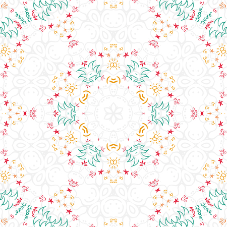 Christmas pattern square drawn abstract background vector