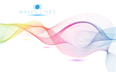 incomparable: rainbow colorful light waves line bright abstract vector pattern curve