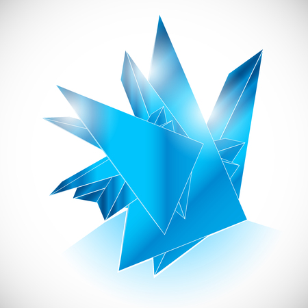 topaz: Blue gem sapphire ice crystal icon geometric art vector template