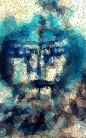Gesicht in geometrische Gestaltung abstrakte geometrische Hintergrund Glasfenster vektor vertikal