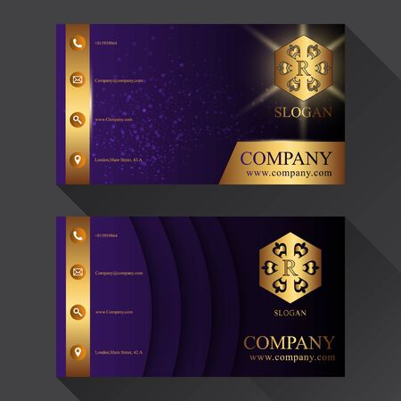 business card template: business card with shadow two sides template vector gold purple