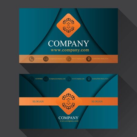 business media: luxury business card with shadow two sides template vector